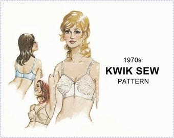 1970s Lingerie Sewing Pattern - Kwik Sew 217 Sewing Pattern - Misses Bra Brassiere - Size 32A 32B 32C 32D - UNCUT - Kerstin Martensson