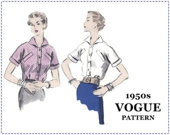 1950s Blouse Pattern - 1950s Sewing Pattern, Vogue 7919 - Misses Blouse, Kimono Sleeves, Slash Pockets, Button Front, Cuffs, Size 16 Bust 34