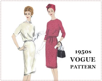 1950s Sewing Pattern - Vogue 9917 - Two Piece Tunic Dress - Size 14 Bust 34 - UNCUT - Underskirt, Slim Skirt, Short Sleeve, Long Sleeve