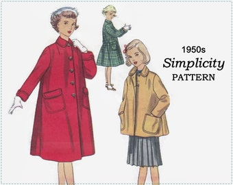 1950s Sewing Pattern - Simplicity 4418 Sewing Pattern - Girls Coat, Girls Jacket - Size 8 Chest 26 - Children's Coat Sewing Pattern