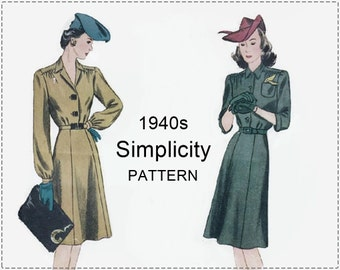 1940s Dress Sewing Pattern - Vintage Simplicity 4523 Sewing Pattern - Misses Shirtwaist Dress with Yoke - Size 18 Bust 36 - 1940s Pattern