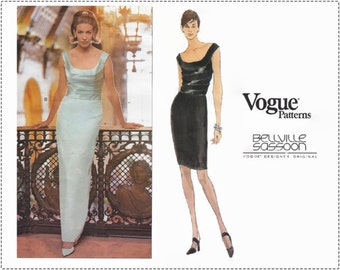 Vogue 1966 Sewing Pattern - Bellville Sassoon - Vintage 1990s Sewing Patterns, Special Occasion Evening Dress, Size 6 8 10 Bust 30 32, UNCUT