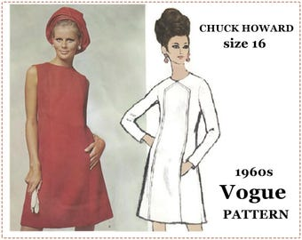Chuck Howard Vogue Americana - 1960s Mod Dress Sewing Pattern - Vogue 1873 - Misses' One-Piece Dress - Size 16 Bust 38 - A-Line Fitted Dress