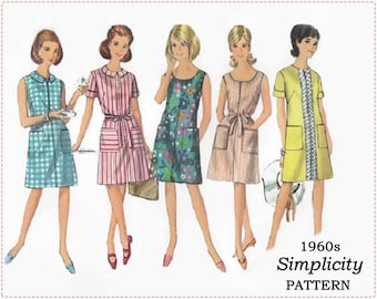 Vintage Simplicity 7025 - 1960s Sewing Pattern - Misses One-Piece Dress - Two Necklines - Size 18 Bust 38 - A-Line Dress - 1967 Shift Dress
