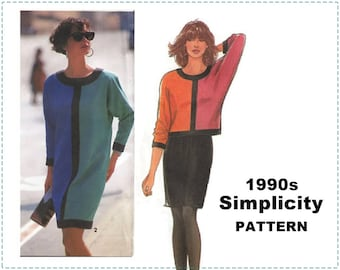 1990s Colour Block Pattern, Simplicity 7652 Sewing Pattern, Misses Dress, Top, Skirt, Size H5 6 - 14 - UNCUT - English & French Instructions