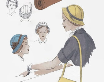1940s Sewing Pattern - Vintage Vogue 6831 - Misses Cloche Hat and Shoulder Bag - Hat with Brim - Head Size 22 - Vintage Vogue Sewing Pattern