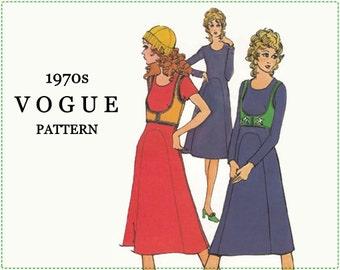 1970s Sewing Pattern - Vintage Vogue 8013 - Misses Dress and Vest - Size 12 Bust 34 - Boho Dress - Boho Vest - Star Applique - A-line Dress