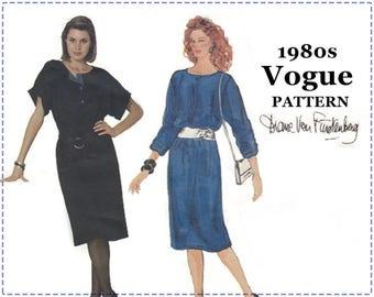 1980s Diane Von Furstenberg Sewing Pattern - Vogue 1187 - Misses One-Piece Pullover Dress - Size  8 10 12 - Bust 32 33 34 - Dropped Shoulder