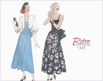 Retro 1940s Sewing Pattern - Butterick 6462 Reprint - Misses Dress with Bolero - Size 12 14 16 Bust 34 36 38 - UNCUT, Special Occasion Dress