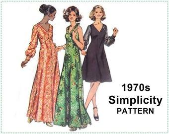 1970s Sewing Pattern - Simplicity 5432 - Misses' Dress, Halter Dress, Evening Dress - Size 16 1/2 Bust 39 - Petite, Look Slimmer Pattern