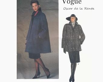 1980s Sewing Pattern - Vogue 1434 - Oscar de la Renta - Misses Swing Coat - Flared Coat - Size 8 Bust 31 1/2 - UNCUT Vogue American Designer