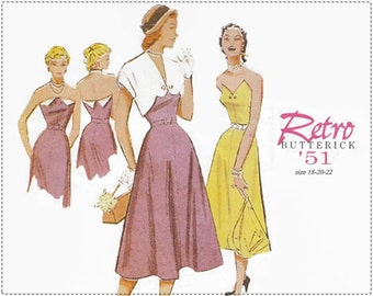 Re-issued 1950s Sewing Pattern - Retro Butterick 6633 Sewing Pattern - Misses Dress, Bolero, Belt - Size 18 20 22 Bust 40 42 44 - UNCUT