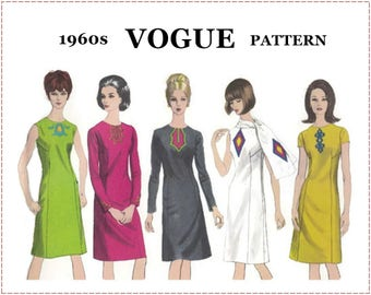 1960s A-Line Dress Sewing Pattern - Vogue 6659 - Dress with Scarf and Applique or Braid Trim, Sheath, Shift - Size 14 Bust 34 - UNCUT F/F