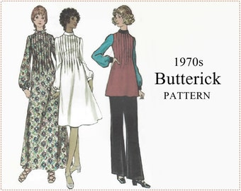 1970s Sewing Pattern - Butterick 6336 Sewing Pattern - Misses Dress, Tunic & Pants - Size 14 Bust 36 - Tucked Dress Mock Turtleneck - UNCUT