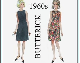 1960s Sewing Pattern - Butterick 4265 - Vintage Sewing - Misses' One-Piece Dress Size 14 Bust 34 - Super Groovy Mod Sleeveless Dress - UNCUT