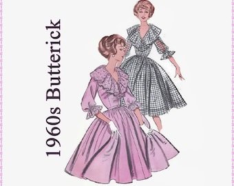 1960s Sewing Pattern - Butterick 9594 - Misses Full Skirted Dress - Size 14 Bust 34 - Retro Rockabilly Ruffled Dress UNCUT - Plunge Neckline