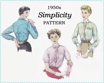 1950s Blouse Sewing Pattern - Simplicity 4813 Sewing Pattern - Misses Shirt or Blouse - Size 16 Bust 34 - Button Front, Yoke, French Cuffs