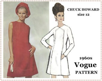 1960s Mod Dress Sewing Pattern - Vogue 1873 - Chuck Howard Vogue Americana - Misses' One-Piece Dress - Size 12 Bust 34 - A-Line Fitted Dress