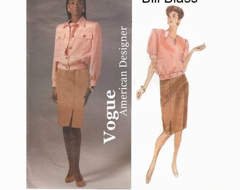 1990s Sewing Pattern - Bill Blass Vogue 2527 - Vogue American Designer - Misses Jacket, Top & Skirt - Size 8-10-12 French and English UNCUT