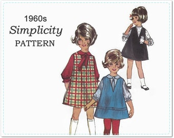 1960s Children's Sewing Pattern - Simplicity 5638 - Child's Jumper, Blouse and Tie - Girl's Dress - Size 2 Chest 21 Waist 20 - V Neck Jumper