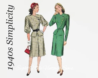 Vintage 1940s Sewing Pattern Simplicity 1770 - Women's Two Piece Asymmetrical Dress Peplum Jacket and Slim Skirt - Size 14 - Bust 32 Hip 35