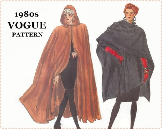 Hooded Cloak Sewing Pattern - Misses Wrap Cape - Vogue 7110 Pattern ...