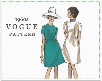 1960s Vogue Sewing Pattern - Vintage Vogue 7464 - Misses One-Piece A-Line Dress - Size 10 Bust 32 1/2 - Short Sleeved Dress - UNCUT - Label