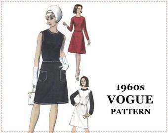 1960s Dress Pattern - Vogue 6545 - One-Piece Dress, Jumper, Blouse - Size 14 Bust 34 - A-line Dress, A-line Jumper, Rolled Collar Blouse
