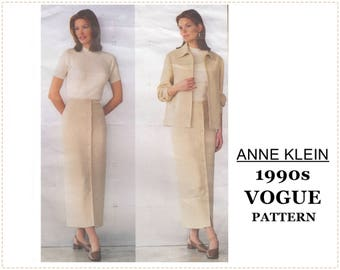 1990s Sewing Pattern - Anne Klein - Vogue 2192 - Misses Jacket, Straight Skirt, Suit - Size 14 16 18  Bust 36 38 40 - UNCUT - Banded Jacket