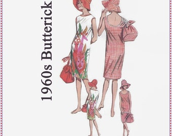 1960s Sewing Pattern - Butterick 3119 - Misses Sportswear - Beach Dress, Hat & Tote Bag - Size 14 Bust 34 Hip 36 - UNCUT - Two Necklines