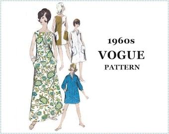 1960s Mod One-Piece Dress Sewing Pattern - Vogue 6180 - Size 14 Bust 34 - Patch Pockets, A-line Dress, Beach Cover-up, Maxi Dress, V Neck