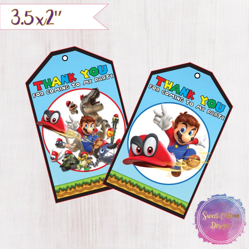 Super Mario Odyssey Thank You Tags/ Super Mario Odyssey Printable Tags/  INSTANT DOWNLOAD
