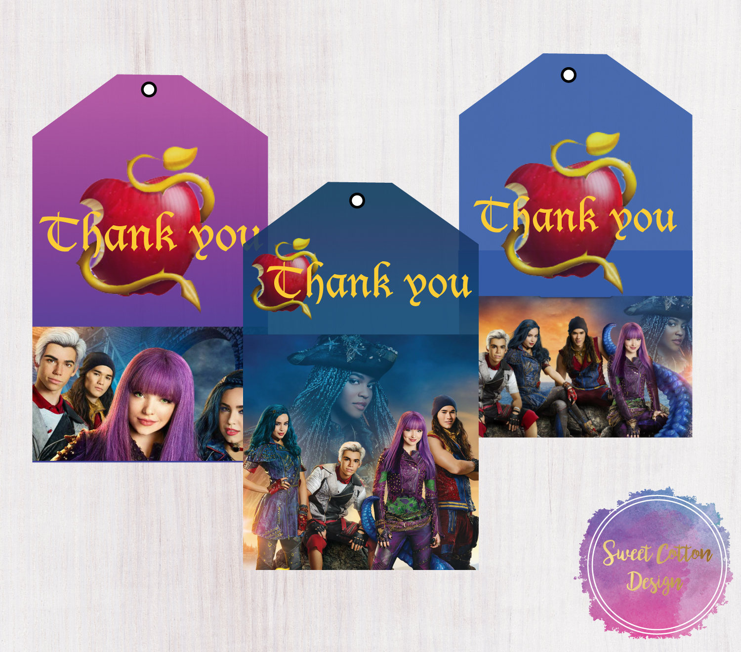 DISNEY DESCENDANTS UMA BIRTHDAY ROUND PARTY STICKERS LABELS FAVORS~VARIOUS SIZES