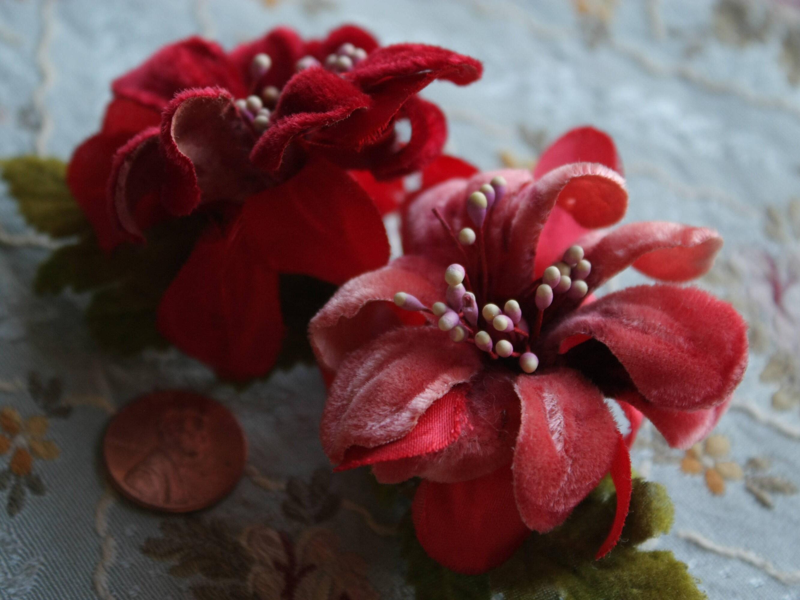 f0303161157 Vintage Millinery Flowers velvet roses 1940s dress   Etsy