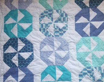 Pinwheel quilt, green and blue nursery, gender neutral quilt, stroller quilt, play mat, crib blanket