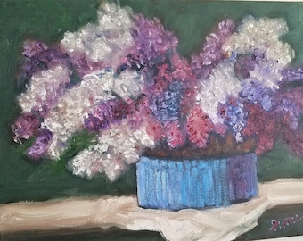Lilacs in Blue Vase