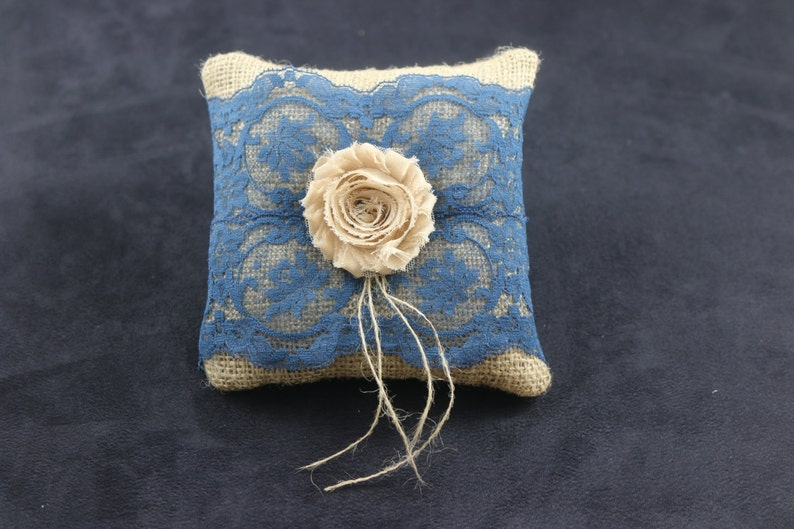 Small Rustic Burlap Blue Lace Shabby chic Flower  Ring Bearer Pillow Ready To Ship