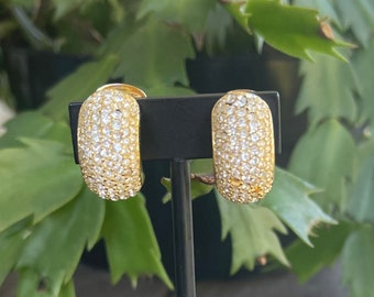 Christian Dior half hoop vintage, clip on earrings gold tone, clear crystals , wedding accessories,