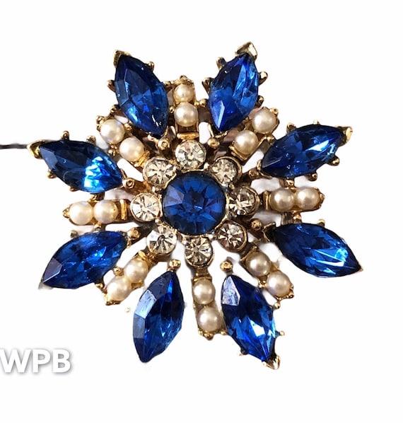 Nice Vintage gold Tone Sky Blue stone Star Snowflake Brooch Pin Pendant