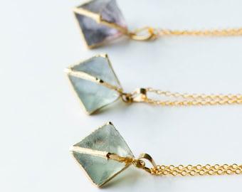 Rough Fluorite necklace,Raw Fluorite Necklace,Rainbow Fluorite,Fluorite Point Necklace,Raw Crystal Jewelry,Healing Crystal Necklace,Fluorite