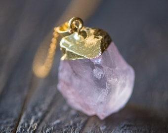 Rose Quartz Necklace,Raw Crystal Necklace,Raw gemstone Necklace,Raw Rose Quartz,Crystal Necklace,Raw Quartz Necklace,Love Stone,Healing Ston