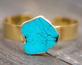 Turquoise Bracelet,Turquoise Cuff Bracelet,Turquoise Gold Stone Bangle,Stone Cuff,Gemstone cuff,Turquoise Bangle Bracelet,Boho Bracelet,BOHO