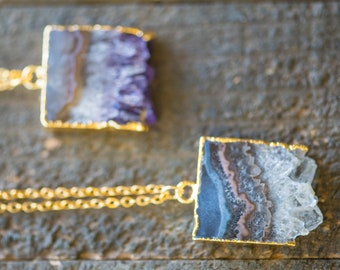 Raw Amethyst necklace,Amethyst Slice Necklace,Gold Dipped Amethyst necklace,Raw Amethyst Necklace,Amethyst Druzy necklace,BOHO,Gift for her