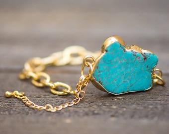 Raw Turquoise Bracelet, Turquoise Jewelry, Turquoise Bracelet Gold, December Birthstone Jewelry, Gemstone Link Bracelet, Link Chain Bracelet