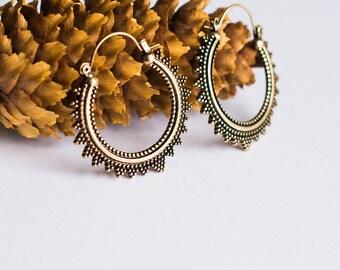 Tribal Brass Hoop Earrings, Tribal Hoop Earrings,Tribal Gypsy Earrings,Belly Dance Jewelry,Brass Afghani Mandala Hoop Earring,Ethnic jewelry