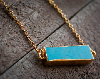 Turquoise Bar Necklace,Turquoise Necklace, Gold Bar Necklace,Bridesmaid gifts,Bridal Jewelry,Gemstone bar necklace,Turquoise Slab necklace