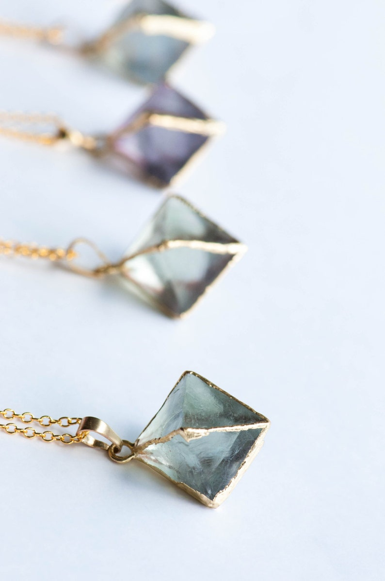 Fluorite Necklace Raw FluoriteRaw Crystal NecklaceHealing image 1