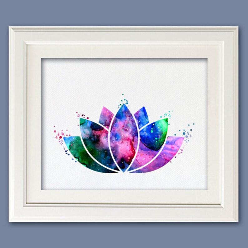 Lotus Flower Yoga Symbol Galaxy Colorful Watercolor Etsy