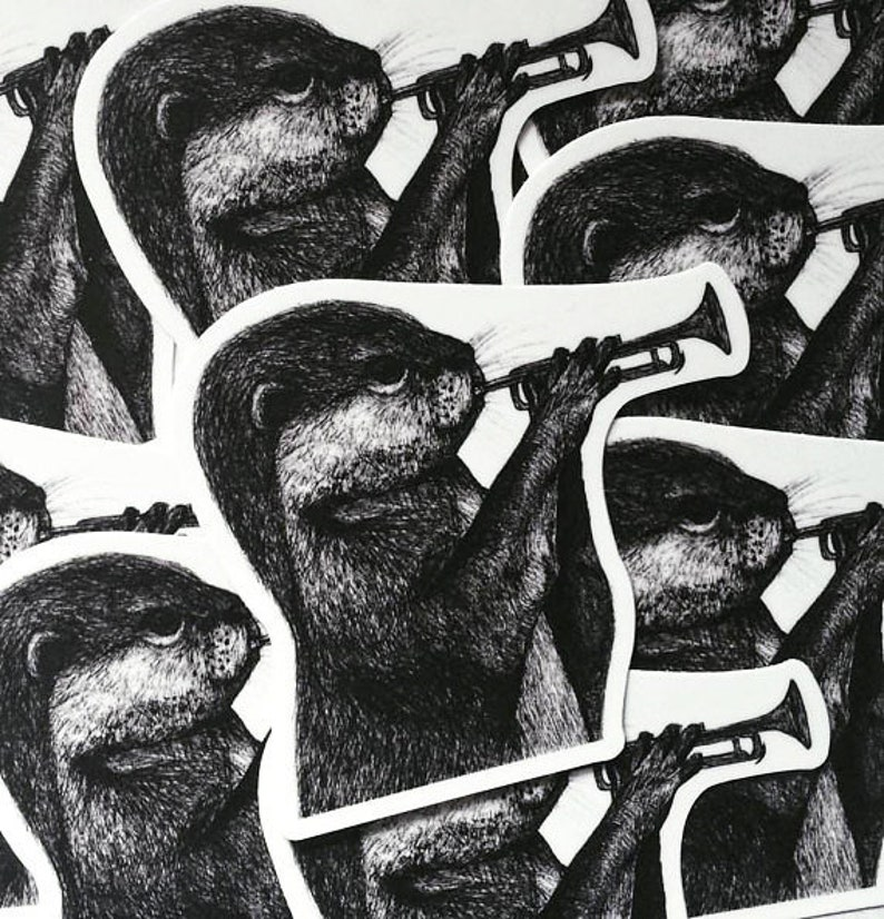 Otter with Trumpet Vinyl Sticker image 0