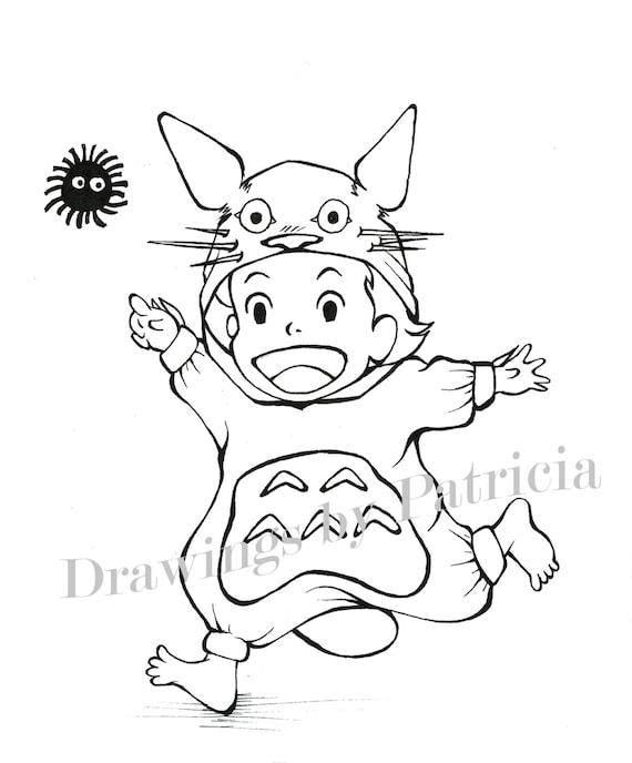 Dibujos de Halloween basados en las películas de Studio Ghibli | Etsy